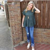 Green Short Sleeve Ruffle Top