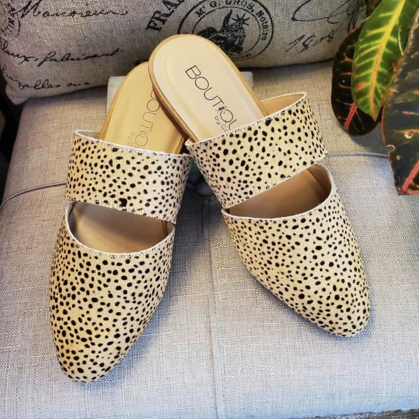 Tan shoe with black dots