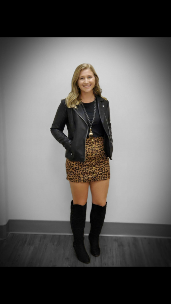 Cheetah Print skirt with leather jacket